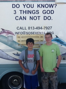 Creighton (left) and Daniel. Creighton saved in front of motor home in Pocahontass, IA